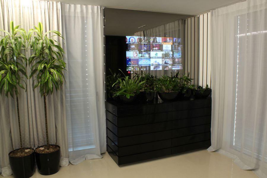 schwarzes Möbel Pflanzen Bildschirm